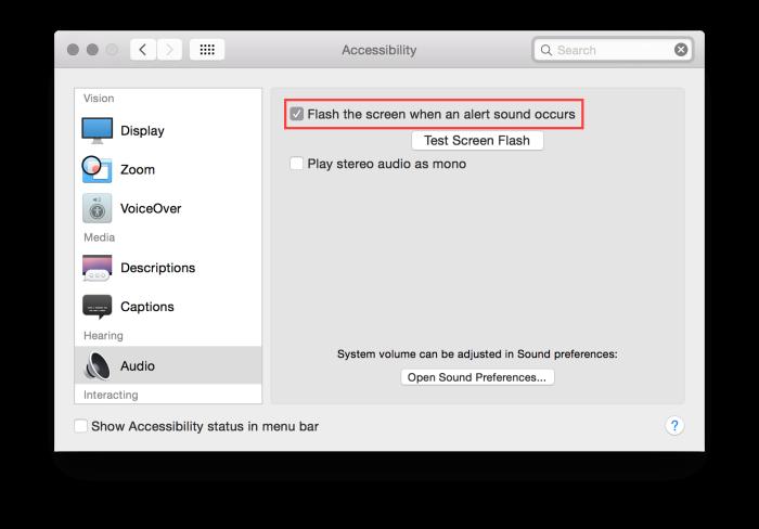 En dialogruta för hur man ställer in visuella notifikationer på din Mac