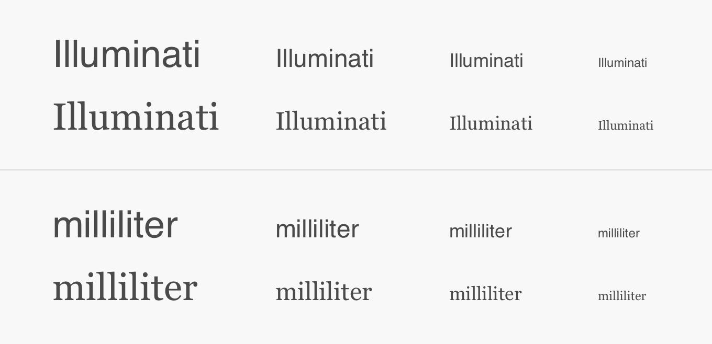 Två ord som inte gör sig så bra i Helvetica. Varianten är skriven i Georgia.